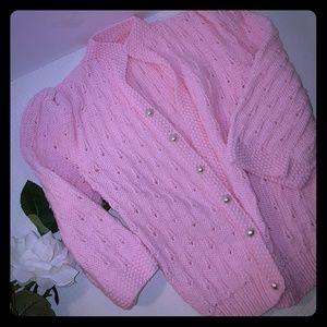 New Pink Hand Crochet Open Cardigan